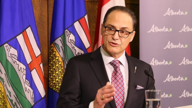 Finance Minister Joe Ceci speaks to reporters prior to the release of the 2017-18 budget in Edmonton on Thursday.