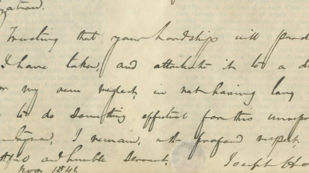 Joseph Howe made his mark on Nova Scotia — and this letter. That's his signature on the bottom right.