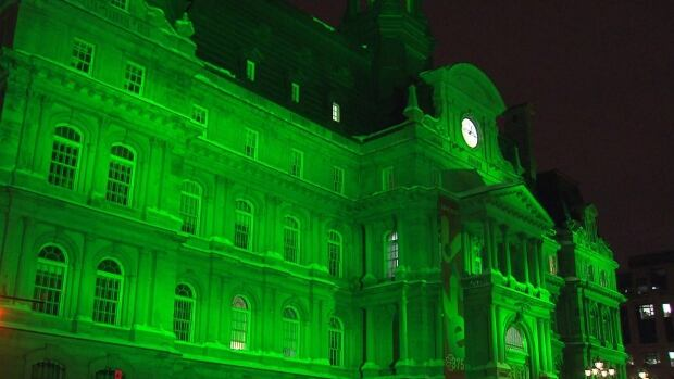 Montreal City Hall has gone green in honour of the St. Patrick's Day celebrations.