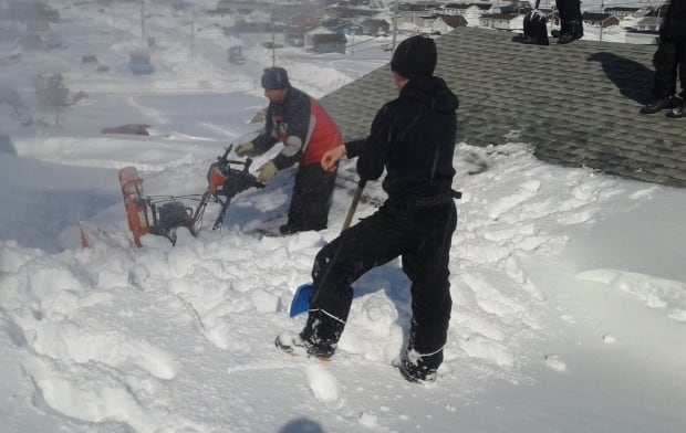 Snowblowing the roof