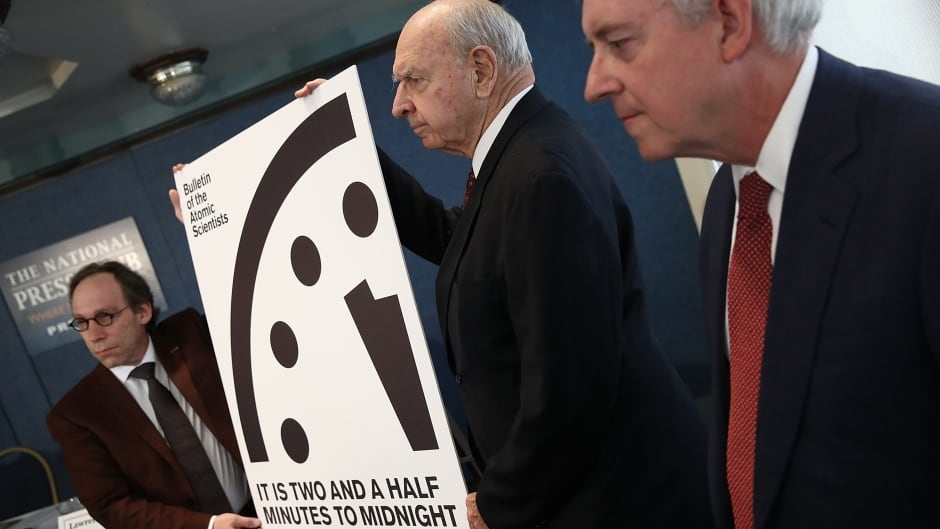 "January 26, 2017, Washington, DC. For the first time in the 70-year history of the Doomsday Clock, the Bulletin of Atomic Scientists moved the clock forward 30 seconds to two and a half minutes before midnight, citing, among other factors, ""ill-considered"" statements by U.S. President Donald Trump on nuclear weapons."