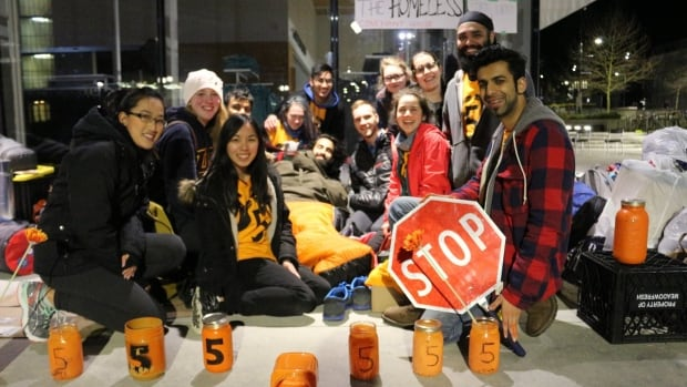 Nine students from the University of British Columbia have camped out over the past week to raise money for initiatives to end homelessness.