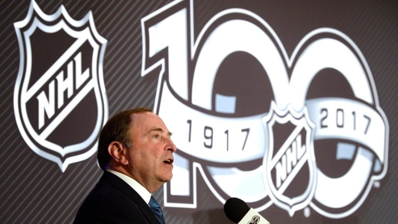 NHL commissioner Gary Bettman speaks at a March news conference to announce  an outdoor game between Ottawa and Montreal to celebrate the league s 100th  ... b9a807919