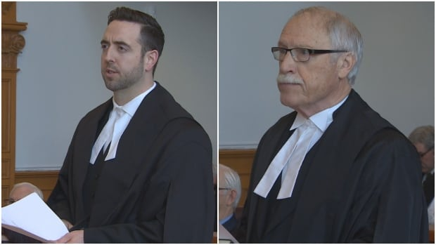 Andrew Parsons and Felix Collins take the oath to become Queen's Counsel on Friday.