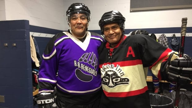 Wayne Risby and Gord Peter, ready to hit the ice at the 40th annual Yukon Native Hockey Tournament, this weekend in Whitehorse. The two have played in every tournament.