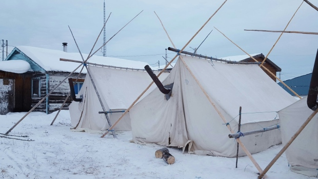 Tents in Dettah, N.W.T., during the On the Land Summit this month.