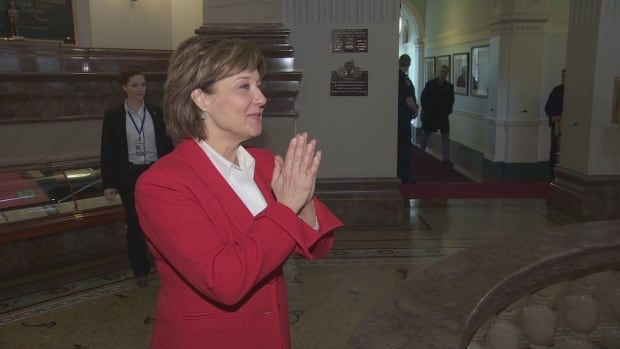 Premier Christy Clark greets visitors from Surrey at the B.C. Legislature on Thursday, March 16, 2017.