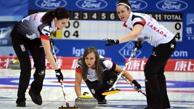 Rachel Homan, center, of Canada throws a curling stone in a match against China during the CPT World Women's Curling Championship 2017 (WWCC) in Beijing, China Saturday on Saturday.