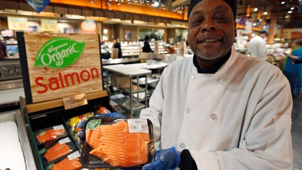 A chef in Virginia holds a Canadian certified organic farm-raised king salmon. Environmental groups are giving Canada's seafood labelling requirements an F grade due to their lack of details compared to American and European packaging standards.