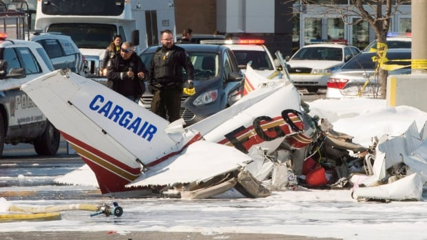One of the planes came to rest in the parking lot of a shopping centre on Montreal's South Shore.