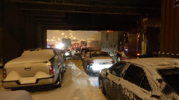 Drivers were stranded for hours on Highway 13 during the snowstorm.