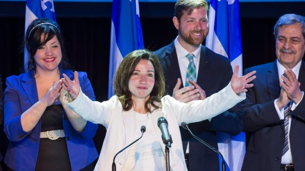 Newly acclaimed Bloc Quebecois leader Martine Ouellet salutes supporters.