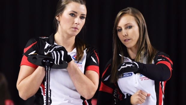 Rachel Homan, right,  and Emma Miskew, shown in this file photo, defeated Russia 10-9 on Sunday at the women's world curling championships in China.