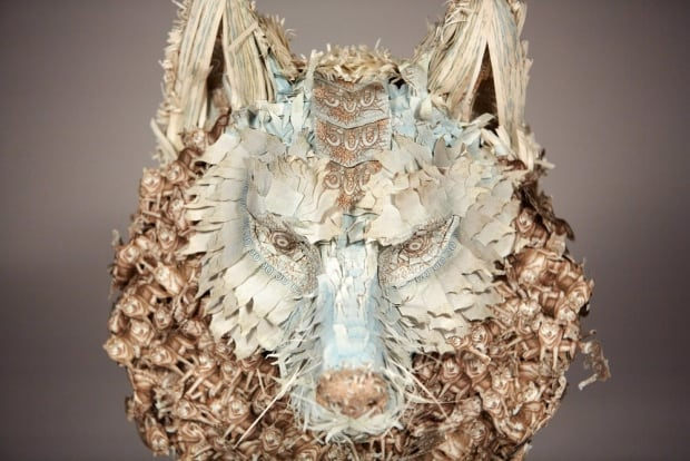 money taxidermy wolf
