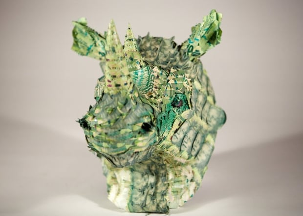 money taxidermy rhino