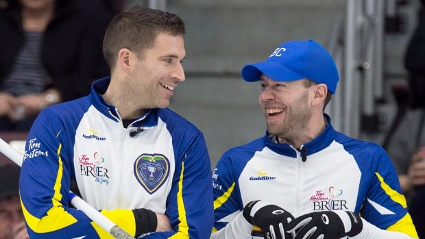 British Columbia skip John Morris, left, pictured alongside vice skip Jim Cotter at the Brier, defeated Brad Jacobs of Ont., to claim the Elite 10 Championship on Sunday.