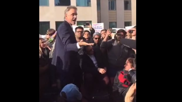 A cellphone video captured by fourth year student Ali Yazdankia has been widely viewed on Facebook. It shows the second leg of Peterson's talk, when he was outside, speaking both to and over the crowd surrounding him.