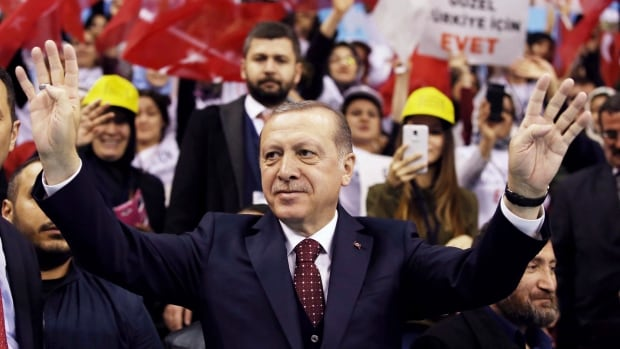 Turkey's President Recep Tayyip Erdogan, seen here campaigning for the country's April 19 referendum. More than 40,000 people have been arrested and more than 100,000 have been fired from government positions since the July 2016 attempted coup.