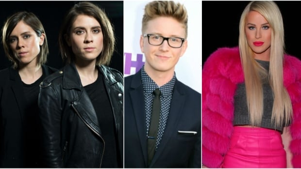 LGBT artists and creators such as, from left, Tegan and Sara and online stars Tyler Oakley and Gigi Gorgeous are calling out YouTube over its 'Restricted Mode,' after a wide range of LGBT content was blocked.