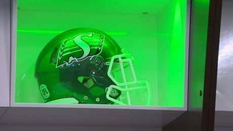 Mosaic stadium tour Roughriders helmet