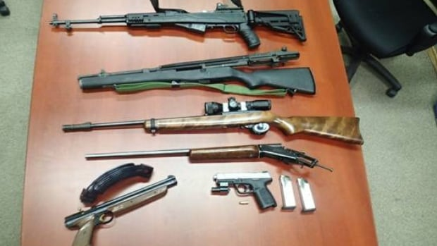 Police in Prince Albert released this photograph of the guns they seized in a weekend investigation.