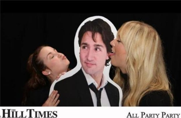 Trudeau cutout at 2013 Hill Times party