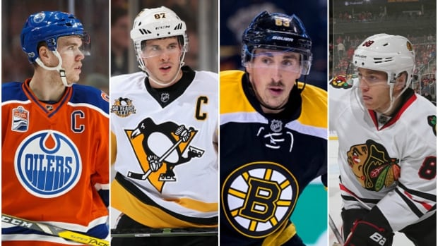 From left to right: Connor McDavid, Sidney Crosby, Brad Marchand and Patrick Kane are among a group of players that could take MVP honours this season.