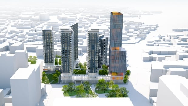 Devimco's proposed redevelopment of the old Montreal Children's site includes 1,400 housing units — 160 of them to be for social housing.