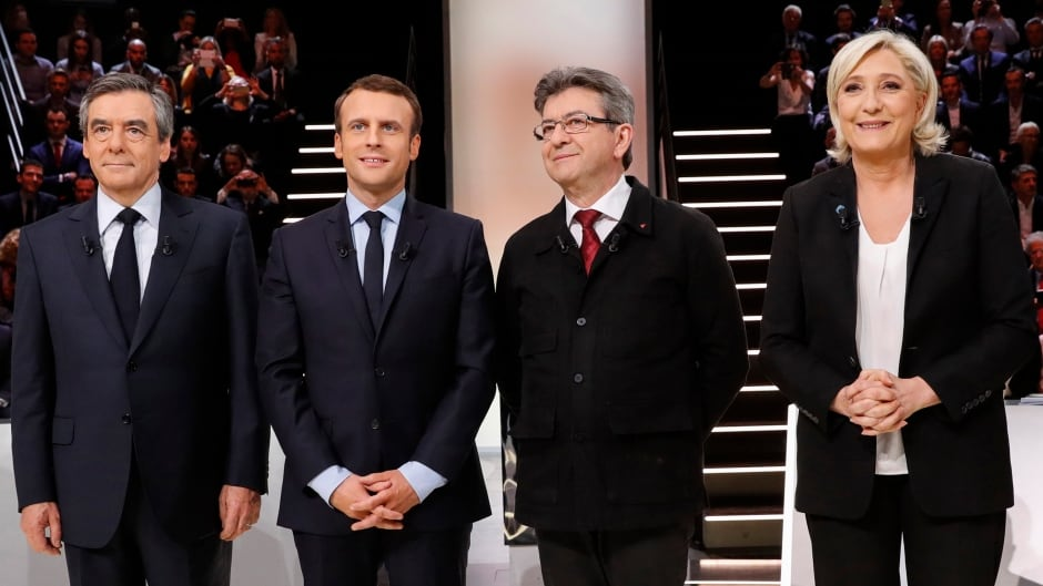 Candidates for the 2017 presidential election (LtoR) Francois Fillon, former French Prime Minister, member of the Republicans and candidate of the French centre-right, Emmanuel Macron, head of the political movement En Marche!, or Onwards!, Jean-Luc Melenchon of the French far left Parti de Gauche, Marine Le Pen, French National Front (FN) political party leader and Benoit Hamon of the French Socialist party (PS).