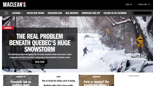 The article was the lead story on Maclean's website Tuesday.