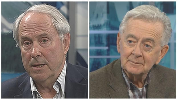 Tom Flanagan, left, and Preston Manning say conditions are favourable for a merger between the Wildrose and Alberta PCs.