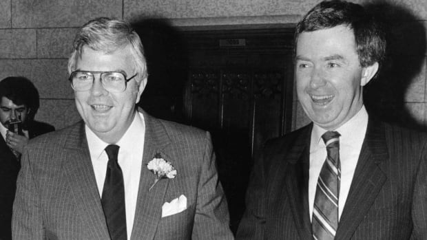 Conservative Finance Minister John Crosbie, left, seen here with Prime Minister Joe Clark in 1979, was among the cabinet ministers who expressed concerns about the possible economic fallout if Canada moved its embassy to Jerusalem.