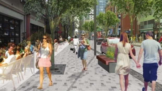 An artist's rendering of what John Street will look like after it's made into a pedestrian-first thoroughfare between Grange Park and Front Street West.