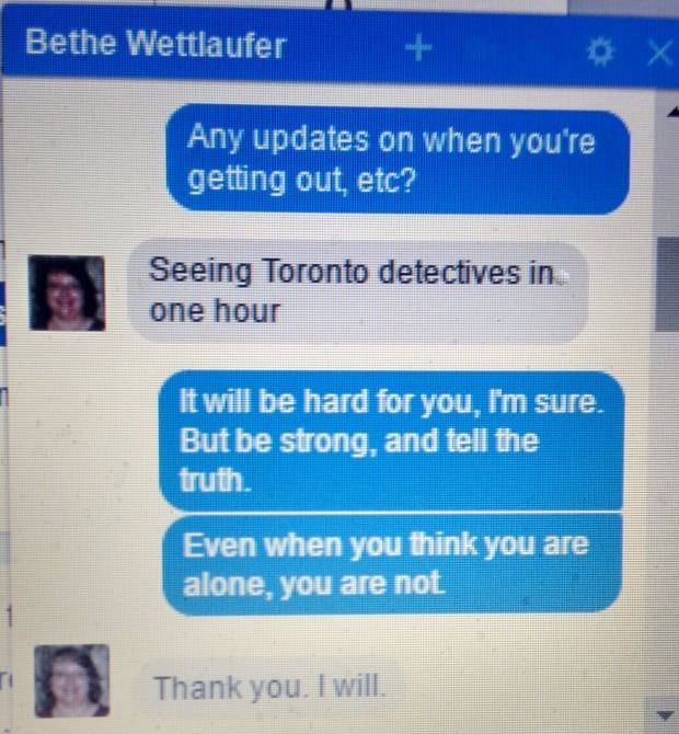 Elizabeth Wettlaufer text messages