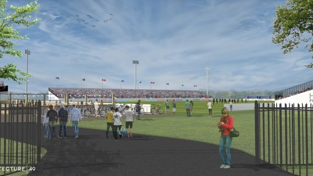 Sports and Entertainment Atlantic proposes putting 5,000 to 7,000 temporary seats at the Wanderers Grounds — at the corner of Sackville and Summer streets — for a small stadium that can be set up and torn down easily.