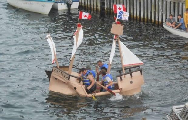 Champney's West cardboard boat race