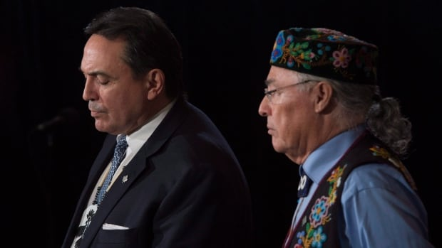 Assembly of First Nations Chief Perry Bellegarde, left, and Metis National Council President Clement Chartier, right, along with Inuit Tapiriit Kanatami President Natan Obed, are planning to boycott a meeting with the premiers scheduled for Monday.