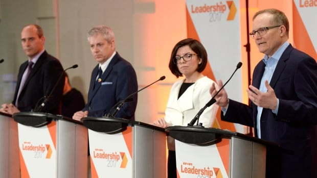 NDP leadership candidates, left to right: Guy Caron, Charlie Angus, Niki Ashton and Peter Julian. The four will debate issues of interest to youth in Montreal on Sunday.