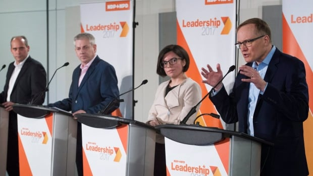 NDP leadership candidates, from left, Guy Caron, Charlie Angus, Niki Ashton and Peter Julian discussed issues affecting youth at a debate in Montreal Sunday.