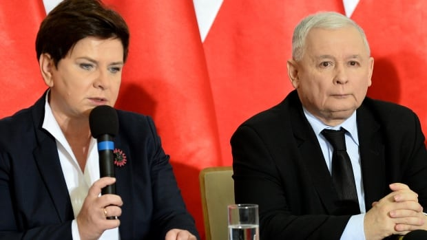 The power behind the throne: Poland's former prime minister Jaroslaw Kaczynski, right, still leader of the PiS (Law and Justice) party, appears with Prime Minister Beata Szydlo in Warsaw. All agree that, as party leader, he makes the key decisions.