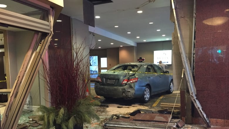 taxi slams into montreal hotel foyer ahead of neb hearings. Black Bedroom Furniture Sets. Home Design Ideas