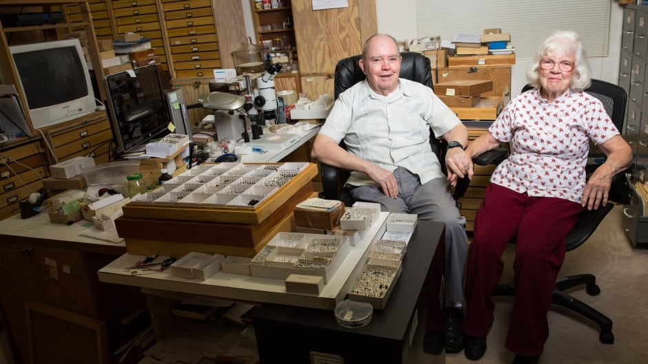 Charles and Lois O'Brien pose for a portrait inside their insect-filled home in Green Valley, Ariz.