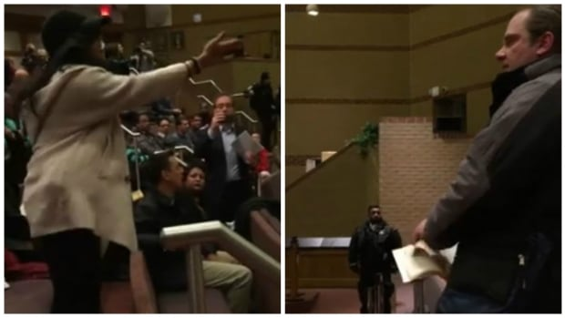Stills from a cellphone video where a man is shown ripping pages out of a Qur'an and throwing them on the floor during a Peel District School Board meeting.