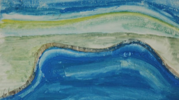 Gina Laing painted 'The Beach' when she was 11 years old as a reminder of happier moments of childhood.