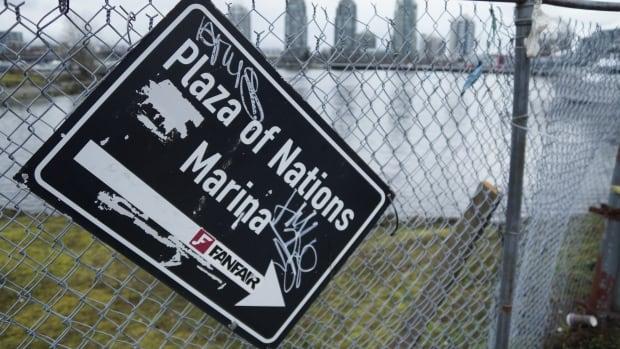 Plaza of Nations marina sign false Creek