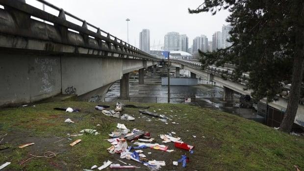 Garbage strewn between viaducts