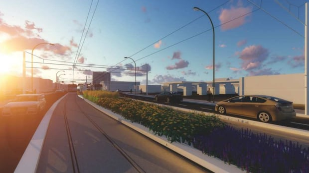This rendering imagines how LRT will run heading east to Kenilworth Avenue.