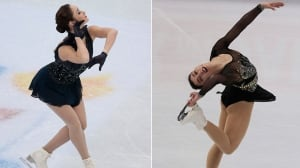 Kaetlyn Osmond, Gabrielle Daleman in podium position at figure skating worlds