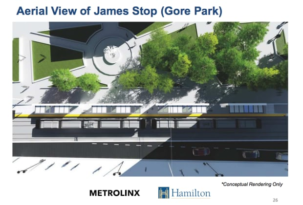 LRT Aerial view of James stop (Gore Park)