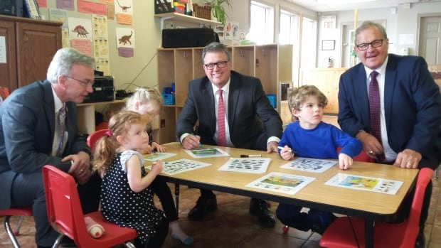 P.E.I. MP Lawrence MacAulay was in Charlottetown on Wednesday to highlight the federal government's plan to invest in child care over the next 10 years. From left to right: Eve McGuigan, MP Sean Casey, Tallulah Crooks, P.E.I. Minister Doug Currie, Cooper Richards and MacAulay.